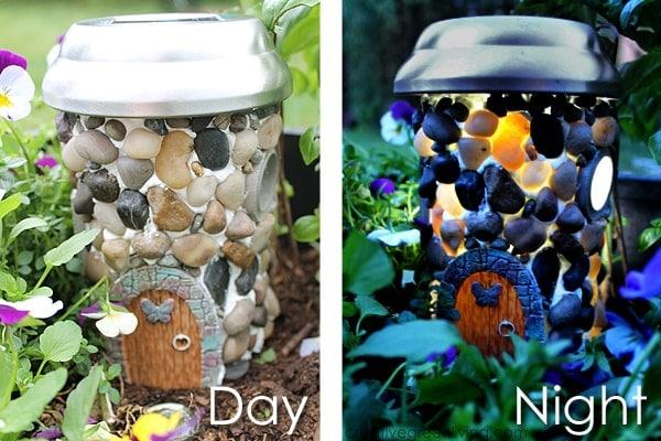 DIY Light up fairy garden house day and night split screen