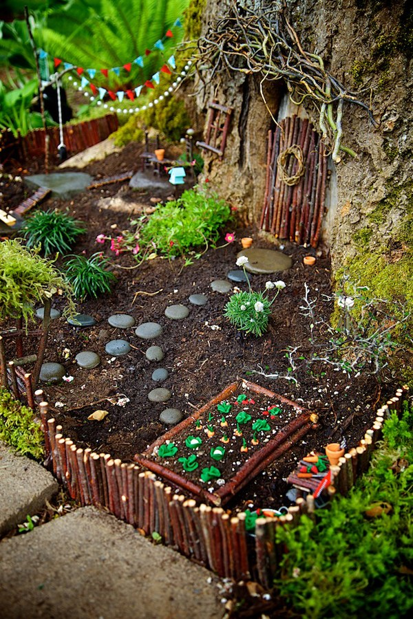 Natural looking fairy garden with rock path, small greenery, and wooden stick made door