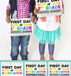 Free Printable First Day of School Signs 2020 - Happiness is Homemade [ 1500 x 750 Pixel ]