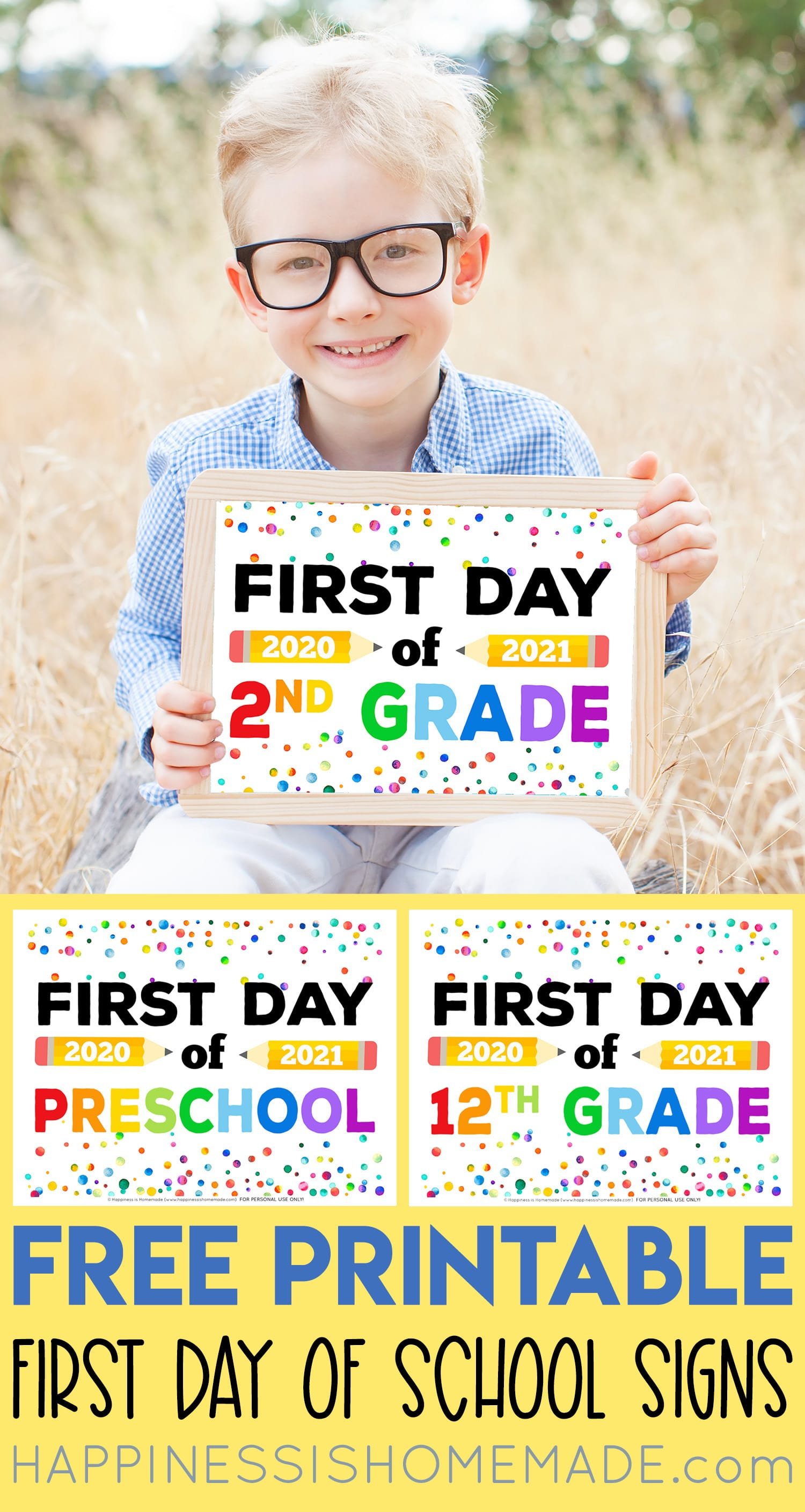 "Boy holding ""First Day of 2nd Grade\"" sign and printable  first day of school signs collage"