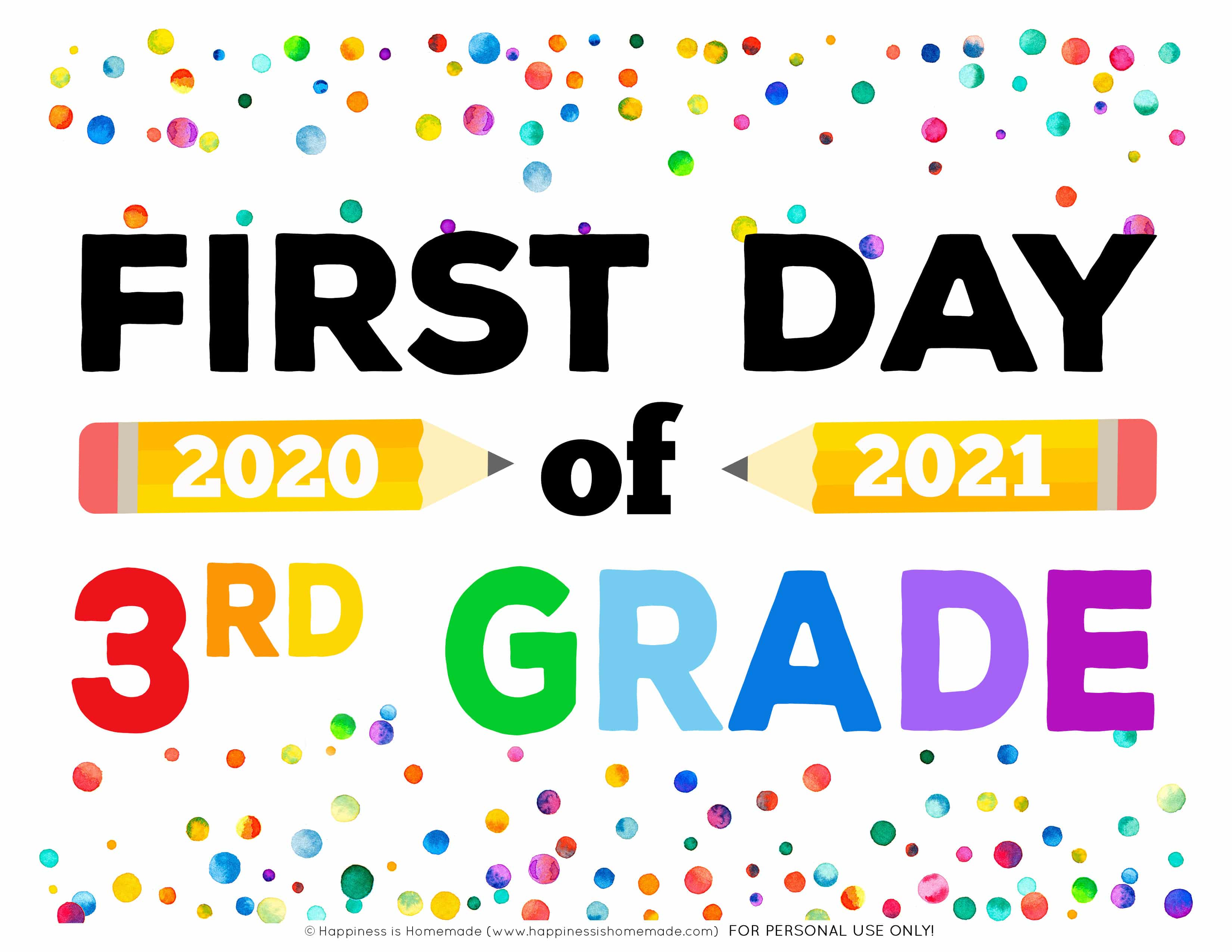 Printable 2020 First Day of School Signs - First Day of 3rd Grade