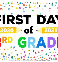 Free Printable First Day of School Signs 2020 - Happiness is Homemade [ 2550 x 3300 Pixel ]