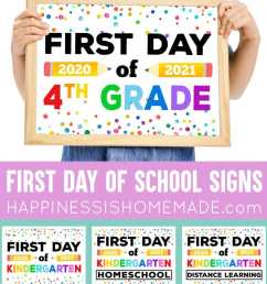 Free Printable First Day of School Signs 2020 - Happiness is Homemade [ 1476 x 750 Pixel ]