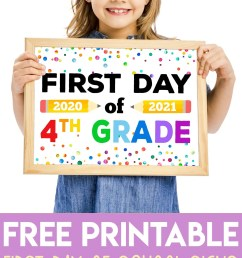 Free Printable First Day of School Signs 2020 - Happiness is Homemade [ 2532 x 1500 Pixel ]
