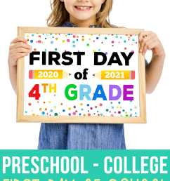Free Printable First Day of School Signs 2020 - Happiness is Homemade [ 2660 x 1500 Pixel ]