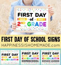Free Printable First Day of School Signs 2020 - Happiness is Homemade [ 2843 x 1500 Pixel ]