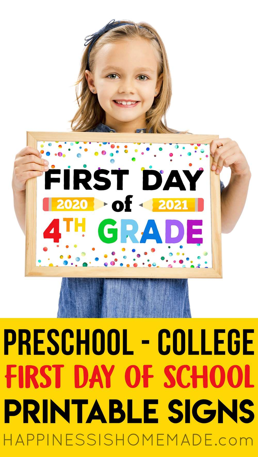 medium resolution of Free Printable First Day of School Signs 2020 - Happiness is Homemade
