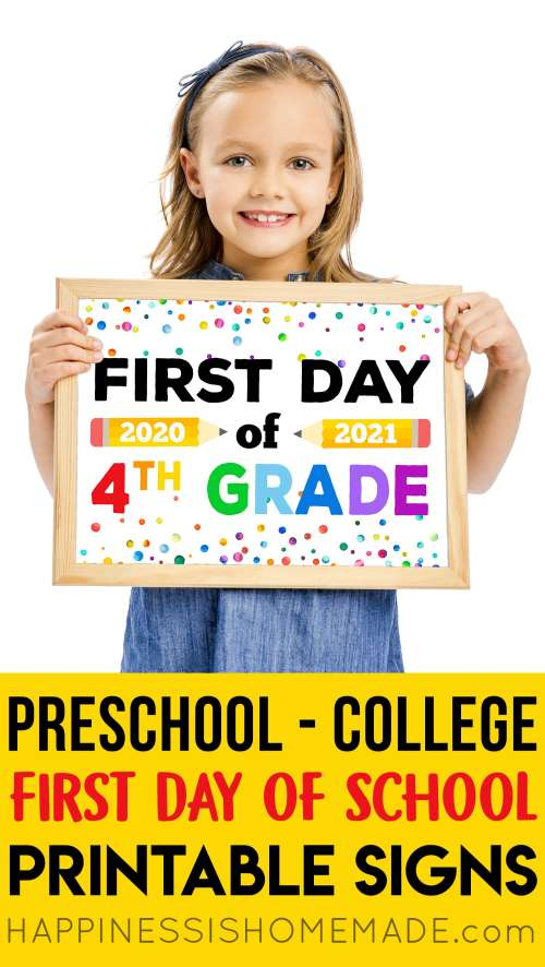 small resolution of Free Printable First Day of School Signs 2020 - Happiness is Homemade