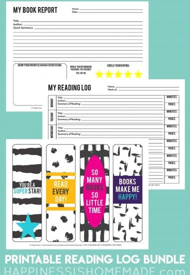 Graphic depicting three free printables - book report, reading log, and colorful bookmarks on light teal background