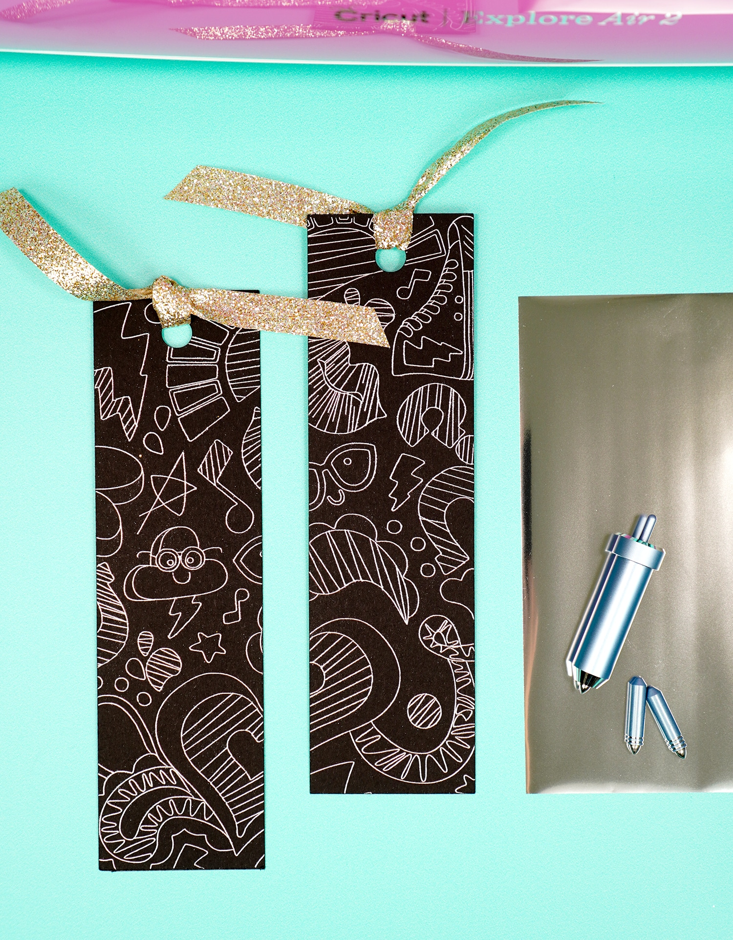 """Black and silver foil """"doodled"""" bookmarks with foil sheet and Cricut Foil Transfer tools"""