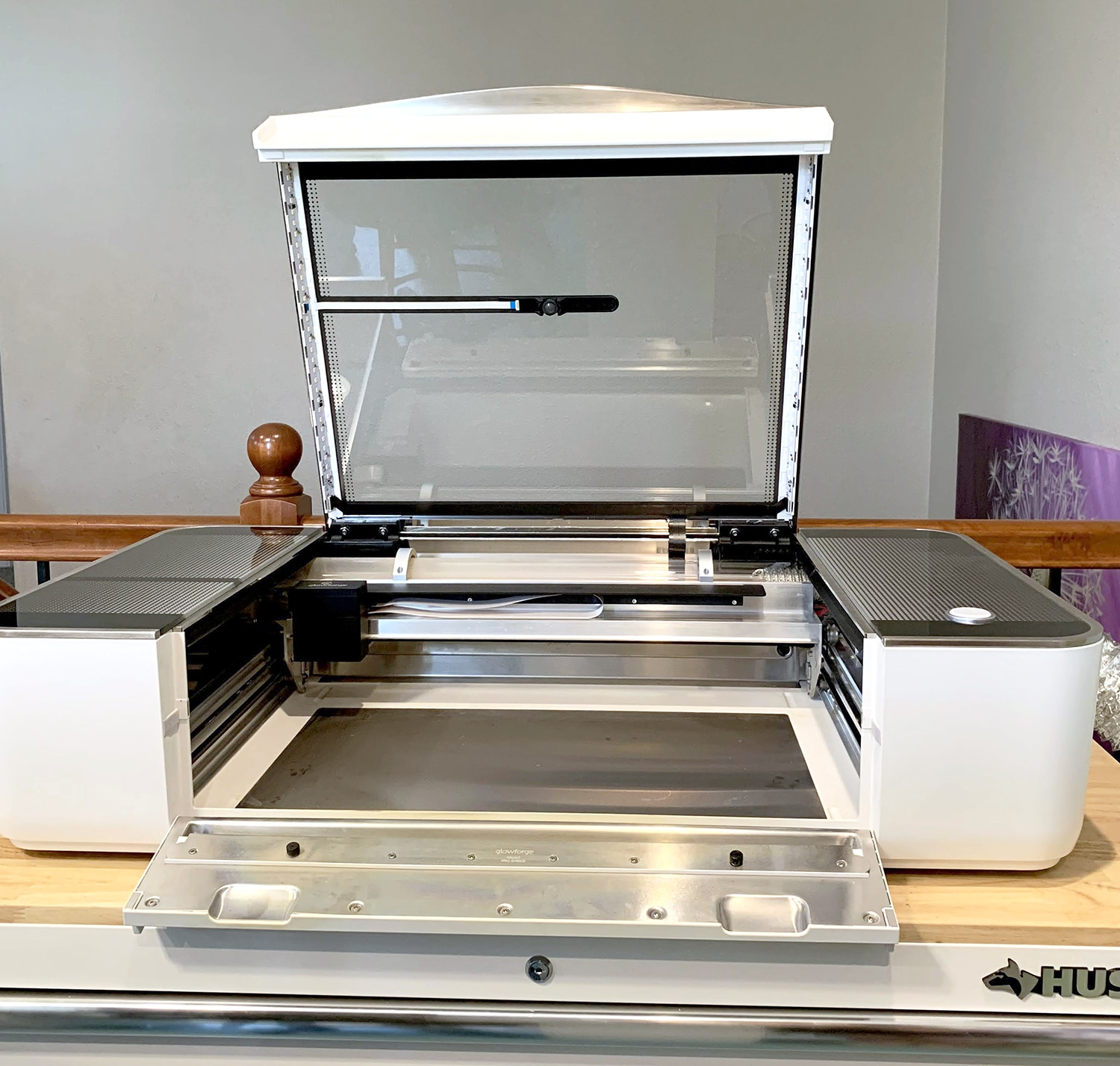 Open Glowforge Pro machine with Crumb Tray Removed