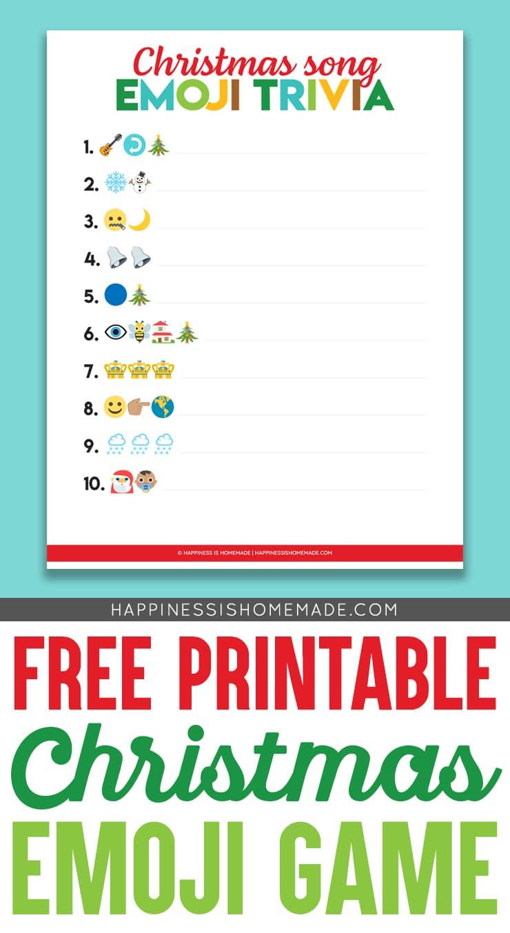 Printable Emoji Christmas Songs Game Happiness Is Homemade
