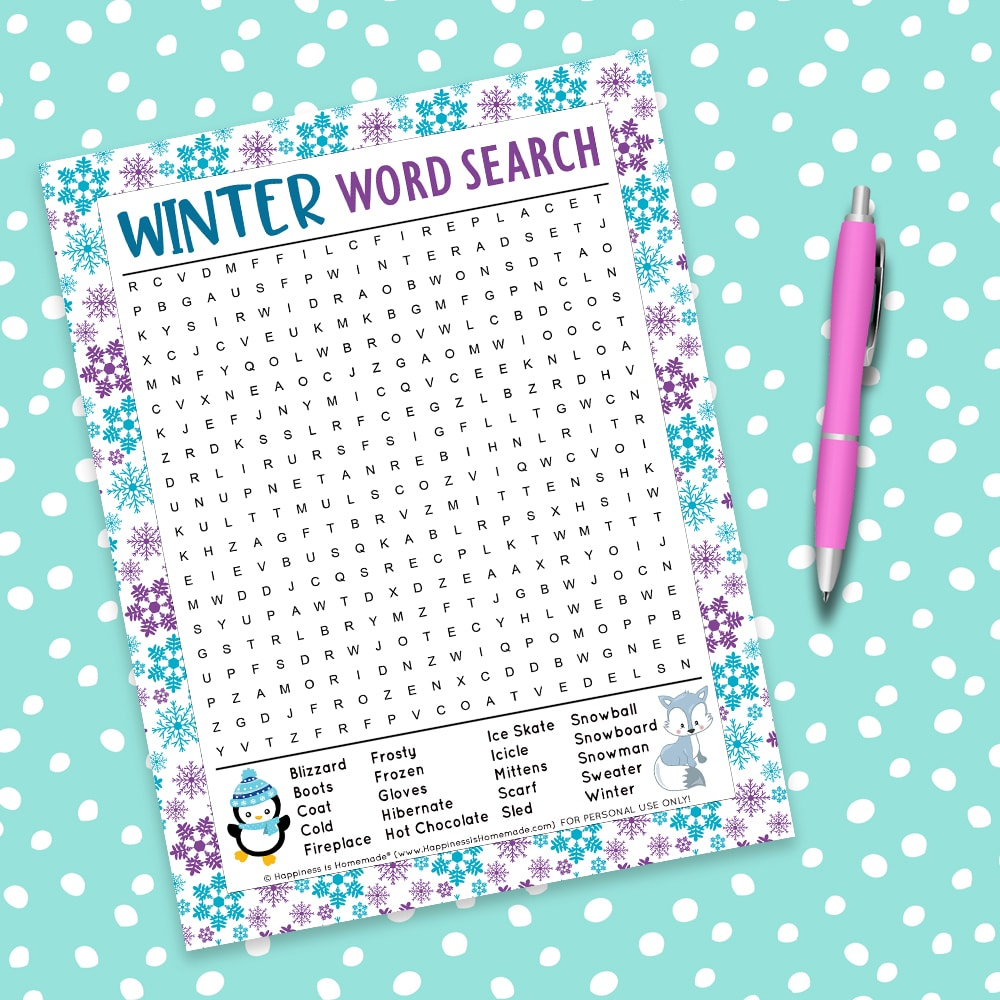 Free winter word search printable game on aqua background with white polka dots and a purple pen