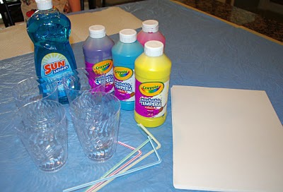 supplies for making cups of paint