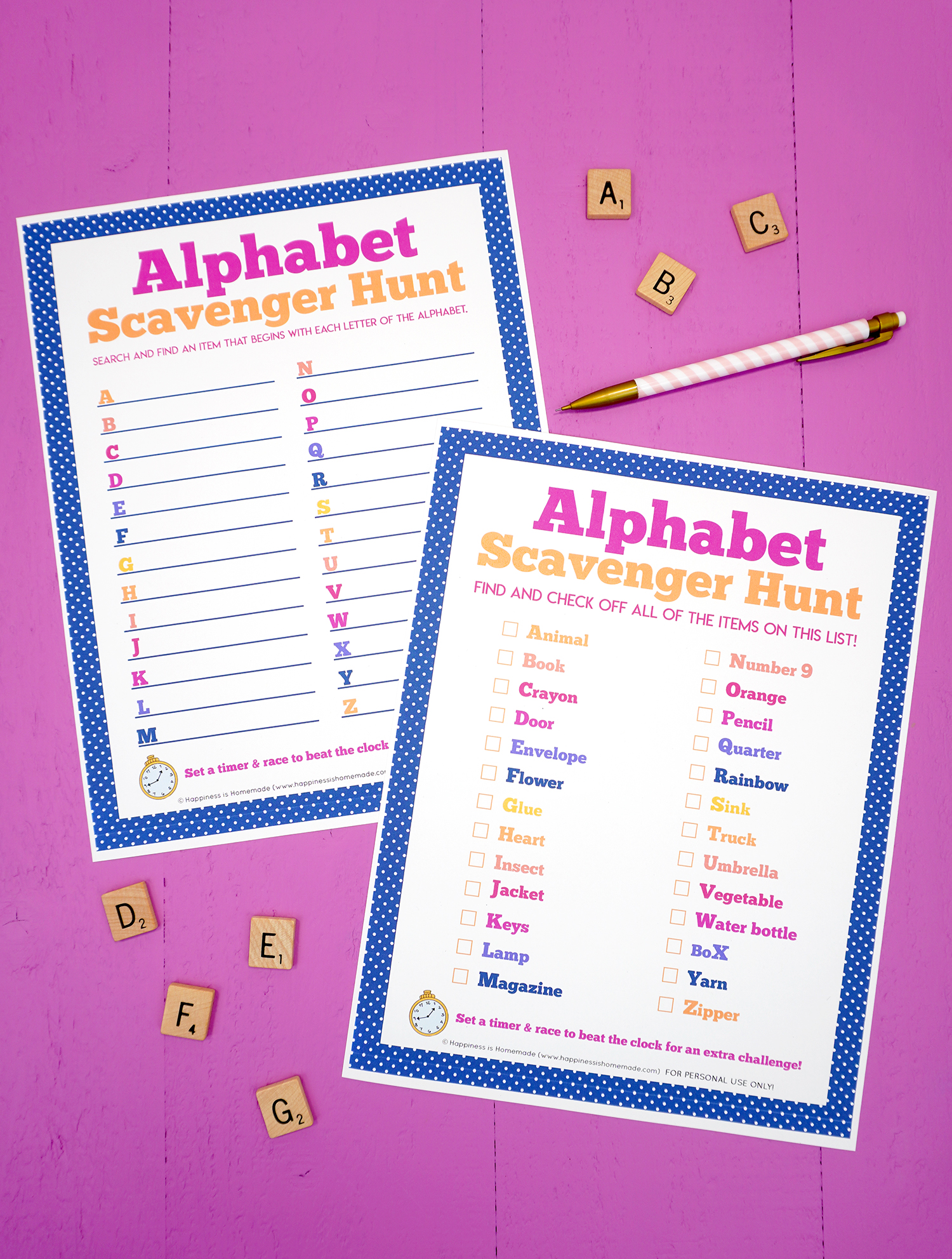 Two alphabet scavenger hunt printables on a purple background surrounded by ABC scrabble tile letters and a pink striped pencil