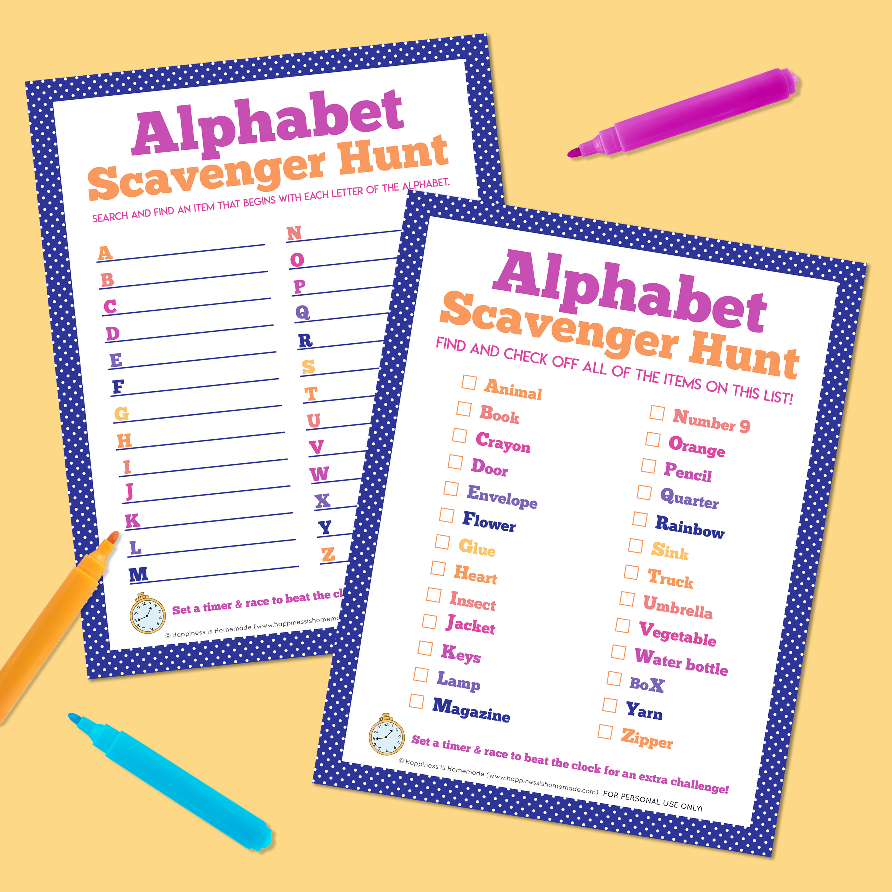 Two printable alphabet scavenger hunt games on a yellow background surrounded by orange, blue, and magenta markers