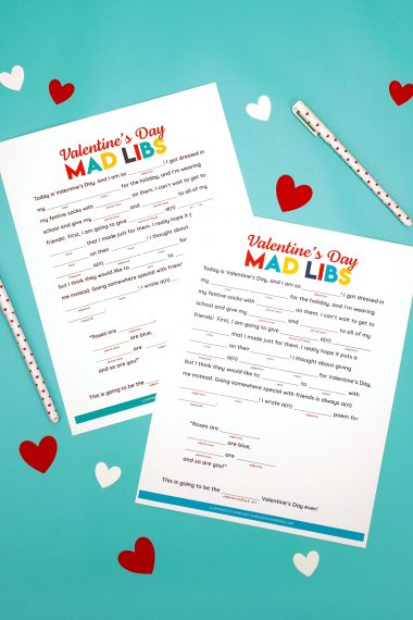 Valentines Day Mad Libs on turquoise background
