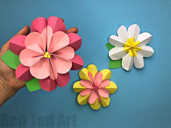 pink and yellow 3D paper tulip flowers