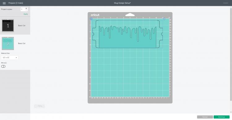 Cricut Design Space screenshot - cutting mat options