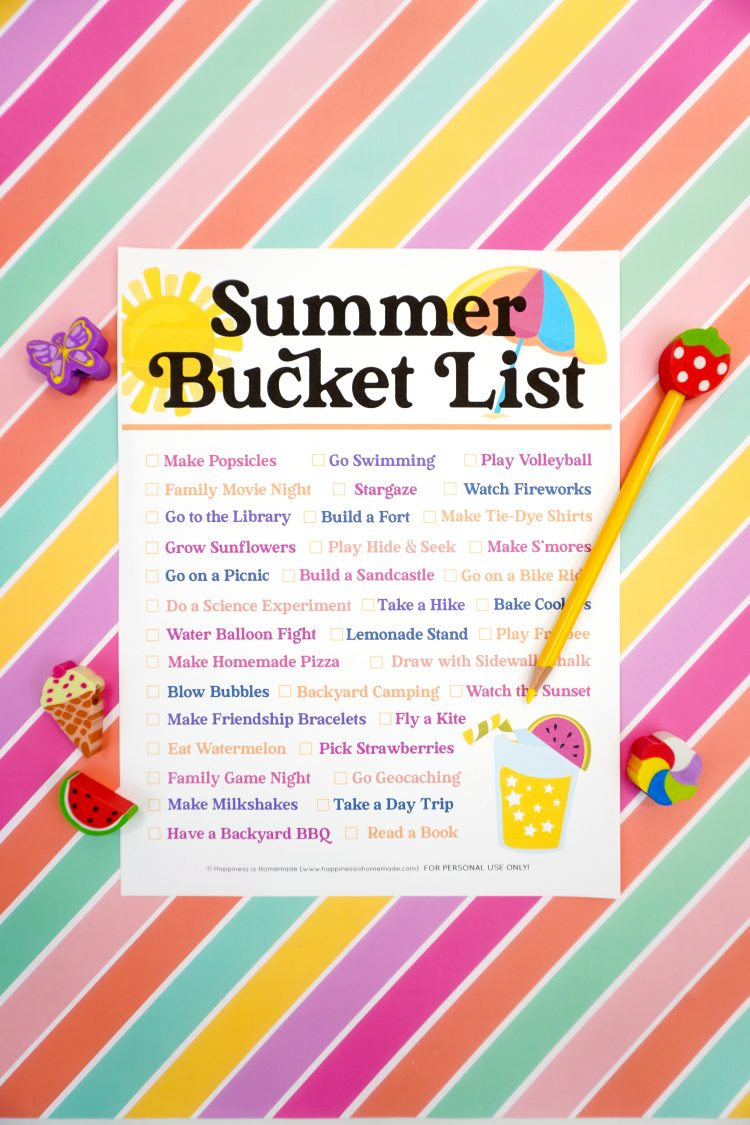 Summer Bucket List Printable for 2021 - Happiness is Homemade
