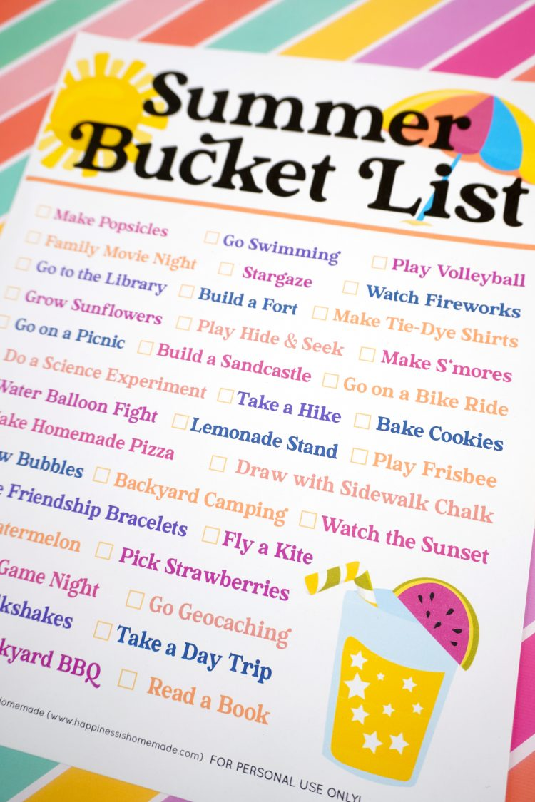 Colorful Summer Bucket List printable on top of a striped background
