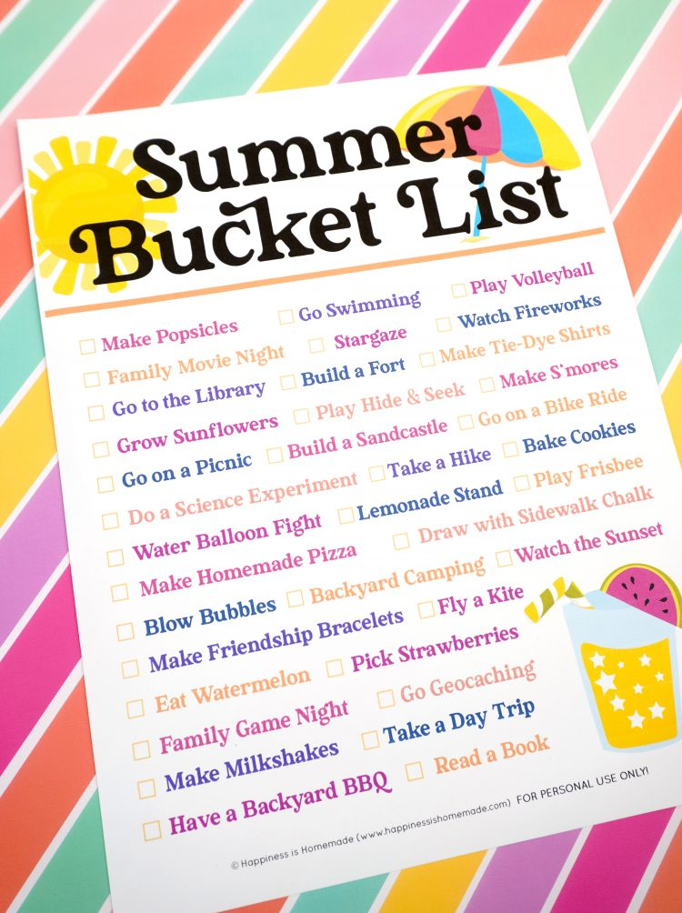 Summer Bucket List printable on a colorful striped background