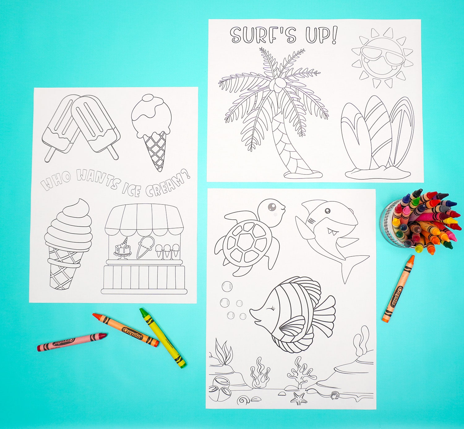 Three summer coloring pages with crayons and container