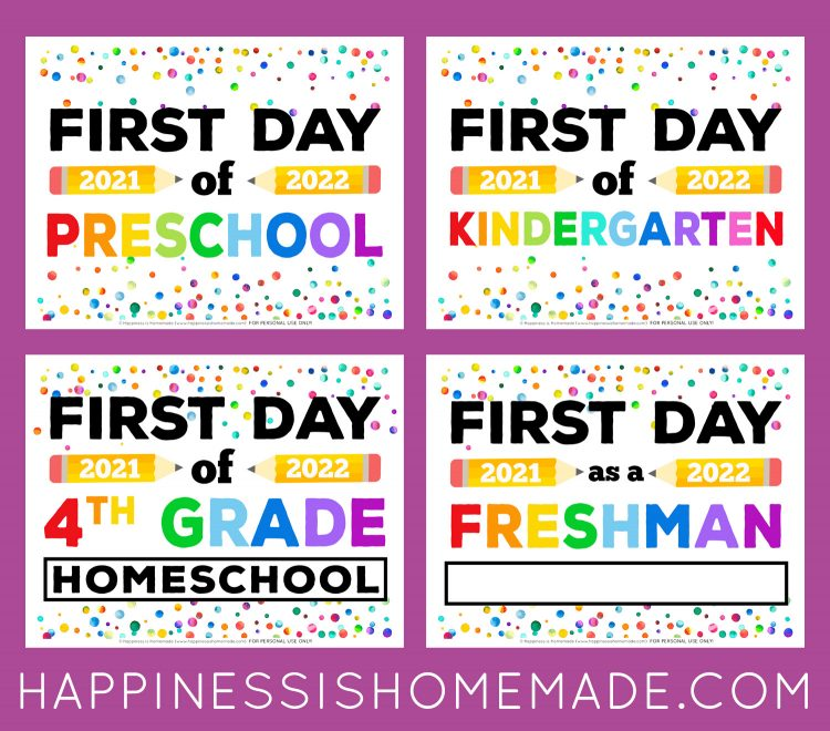 Graphic of Free Printable First Day of School Signs 2021