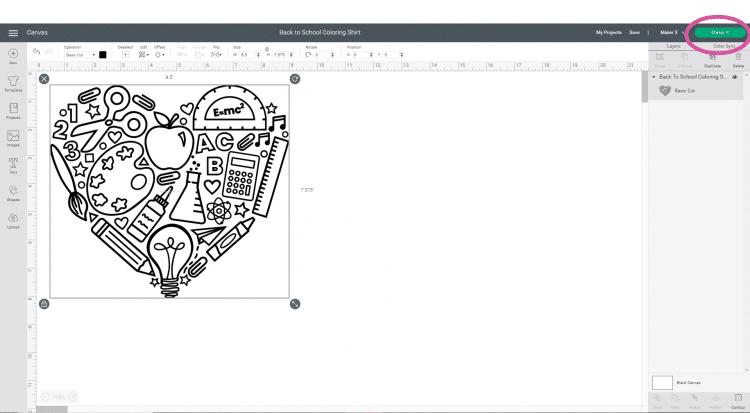 "Software Screenshot - ""Make It"" Button in Cricut Design Space"