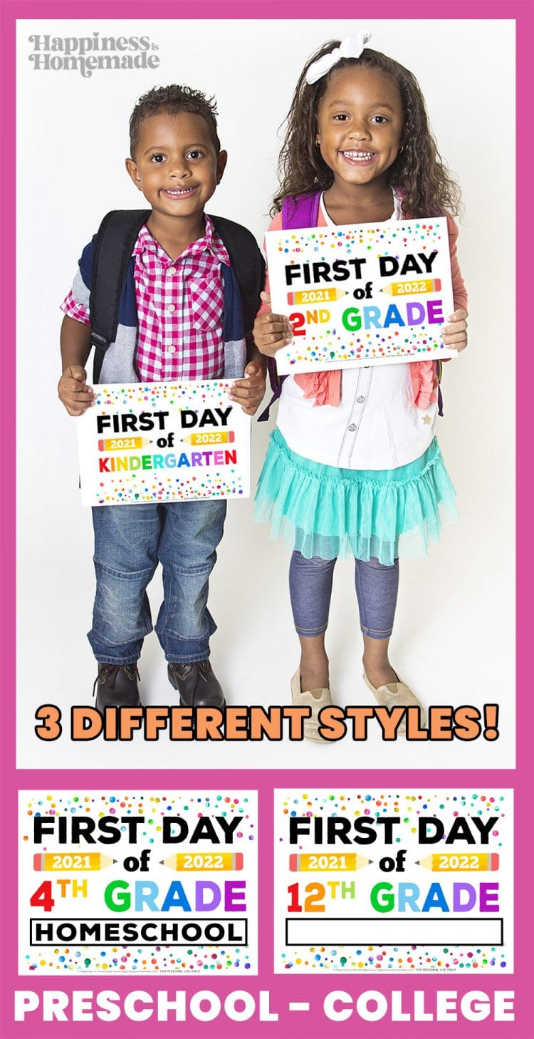 Graphic of Free Printable 2021 First Day of School Signs - preschool through college