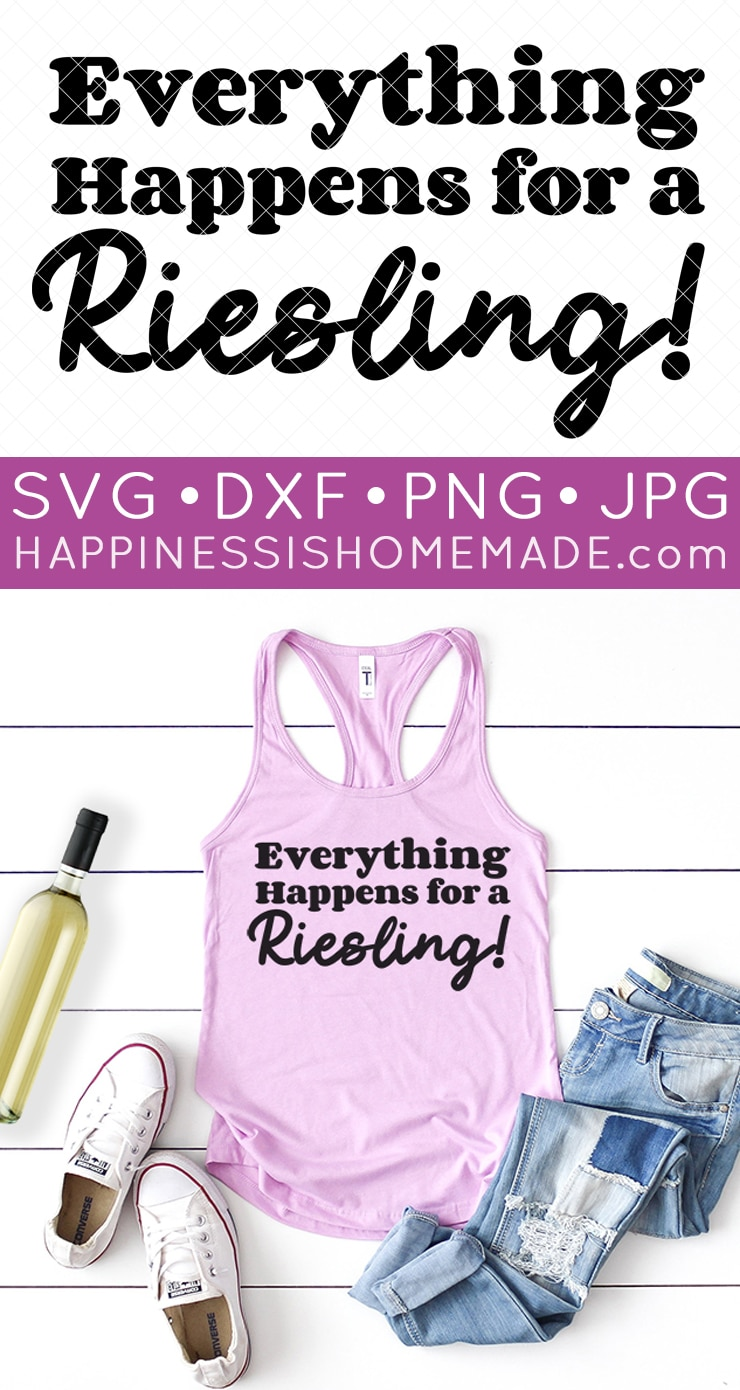 """""""Everything Happens for a Riesling"""" graphic and tank top outfit"""