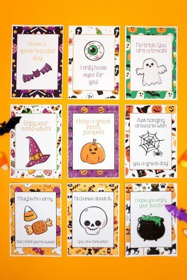 Halloween lunch notes arranged in a grid on an orange background with candy corn and batd