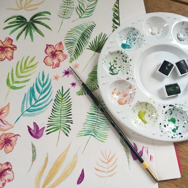 cr ation du faire part mariage tropical la peinture aquarelle happy chantilly studio. Black Bedroom Furniture Sets. Home Design Ideas