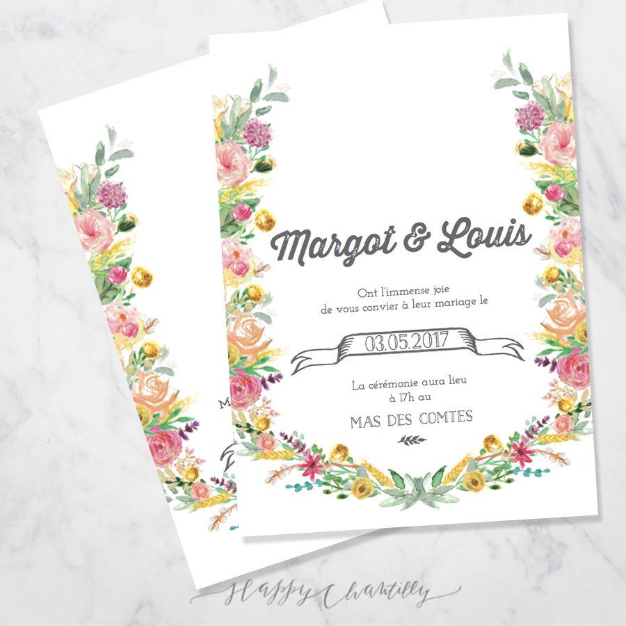 faire part mariage fleurs happy happy chantilly studio. Black Bedroom Furniture Sets. Home Design Ideas