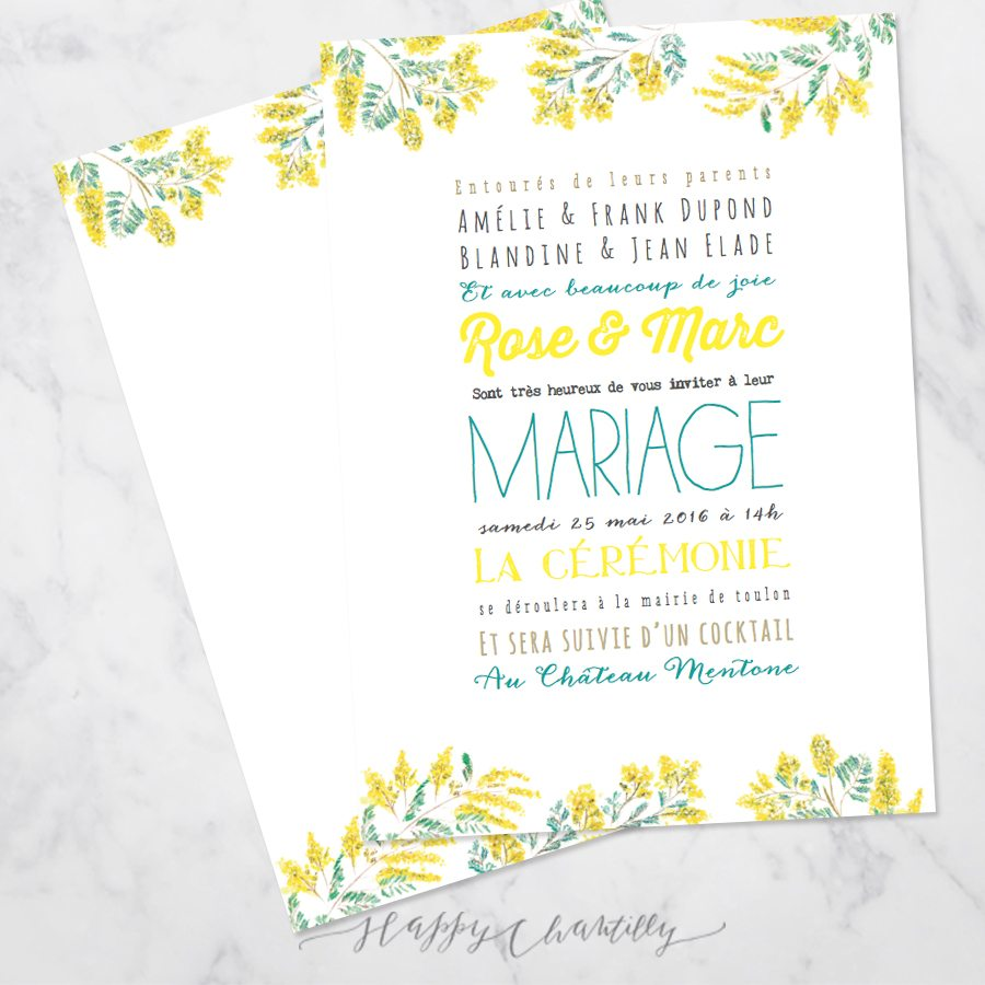 faire part mariage fleurs mimosa happy chantilly studio. Black Bedroom Furniture Sets. Home Design Ideas