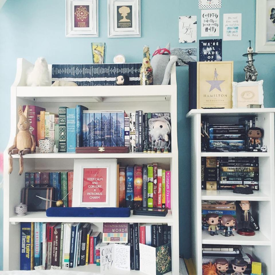 bookshelf with colorful shelves