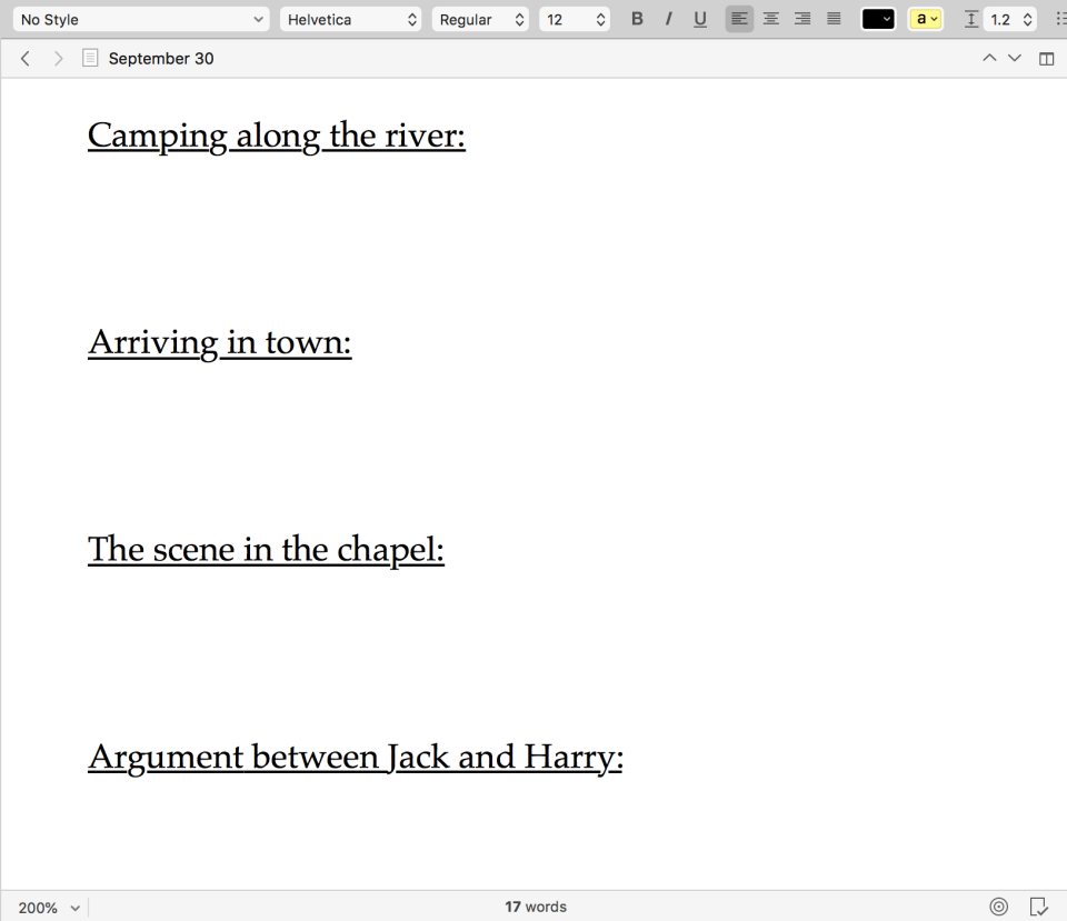 Scrivener screen cap of a document organized with titles for different scenes in a story.