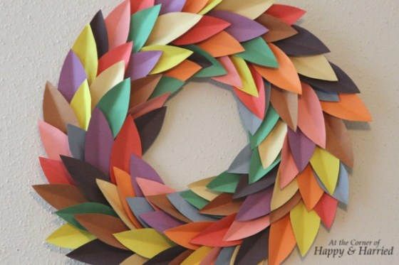 Multicolored spring paper wreath