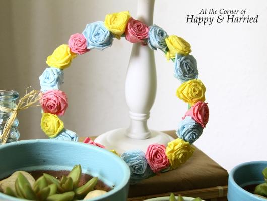 Crepe Paper Rose Wreath 1
