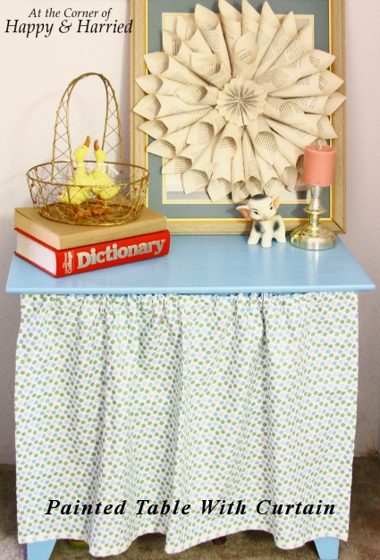Blue Painted Table with Curtain