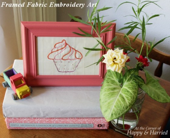 Framed Fabric Embroidery Art Vignette