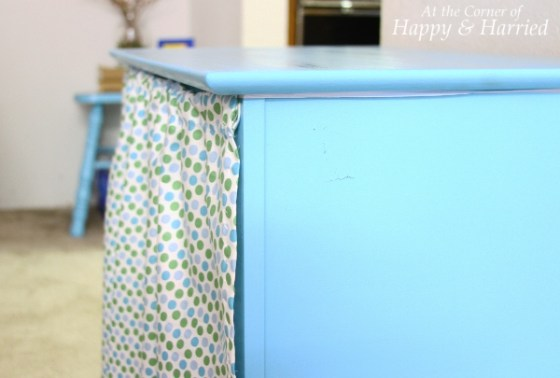 Painted Blue Table with Curtain