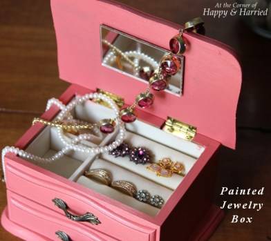 Painted Wooden Jewelry Box with Jewels