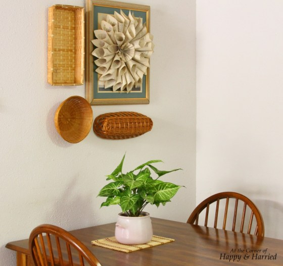 Basket and Book Page Wreath Wall Hanging Vignette