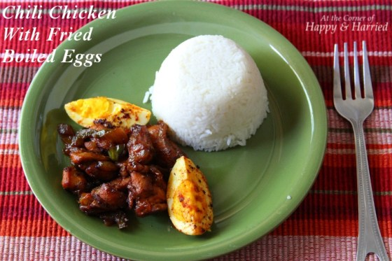 Chili Chicken With Pan-Fried Boiled Eggs