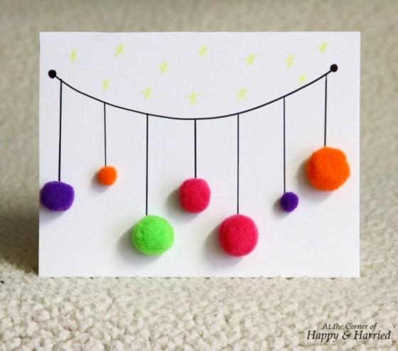 Pom-Poms Ornaments Christmas Card