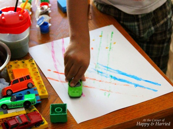 Stamping With Toy Cars