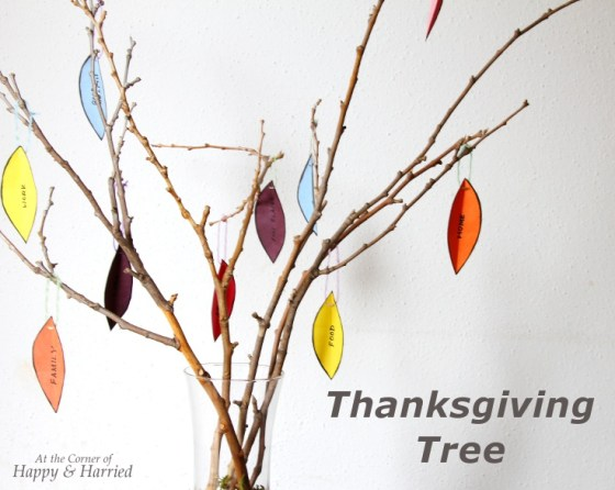Thanksgiving Tree With Twigs And Paper LEaves