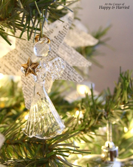 Angel & Book Page Star Garland On Christmas Tree