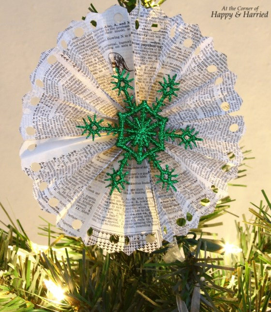 Book Page Accordion Snowflake Tree Topper